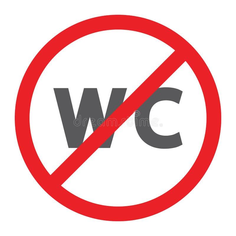 Keine WC-Glyphikone, verboten und geschlossen, kein Toilettenzeichen, Vektorgrafik, ein festes Muster auf einem weißen Hintergrun lizenzfreie abbildung