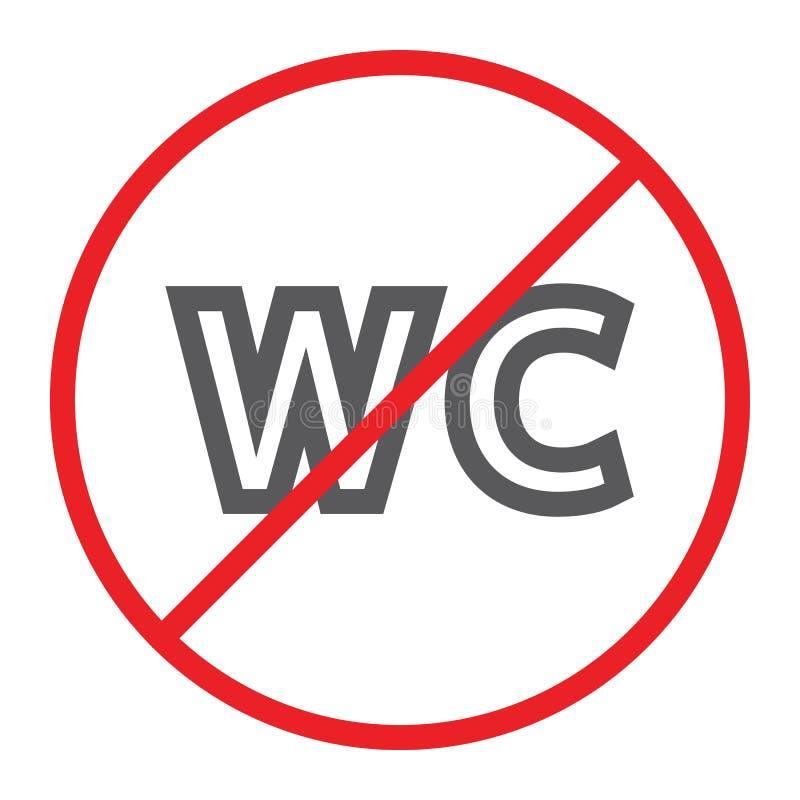 Keine WC-Linie Ikone, verboten und geschlossen, kein Toilettenzeichen, Vektorgrafik, ein lineares Muster auf einem weißen Hinterg stock abbildung