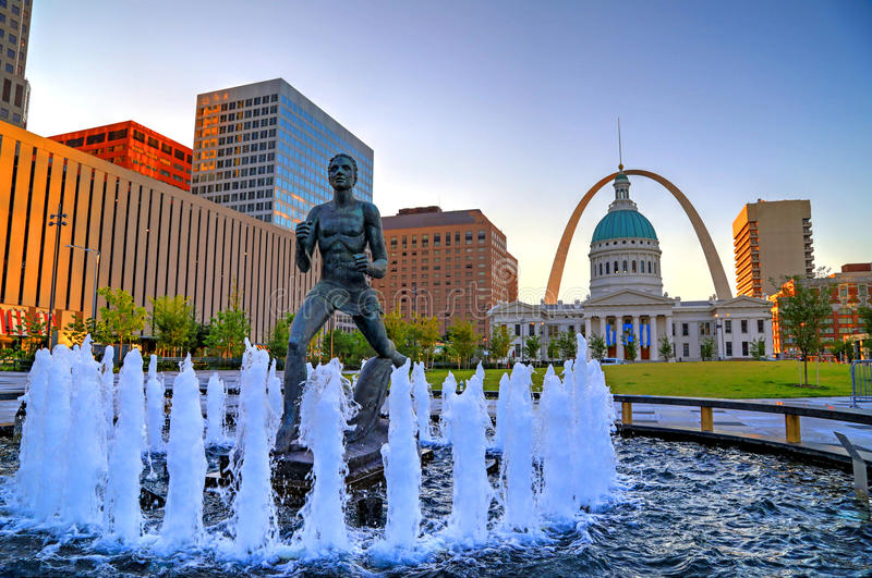 Keiner Plaza and Gateway Arch in St. Louis. July 7, 2017 - St. Louis, Missouri - Keiner Plaza and the Gateway Arch in St. Louis, Missouri stock photo