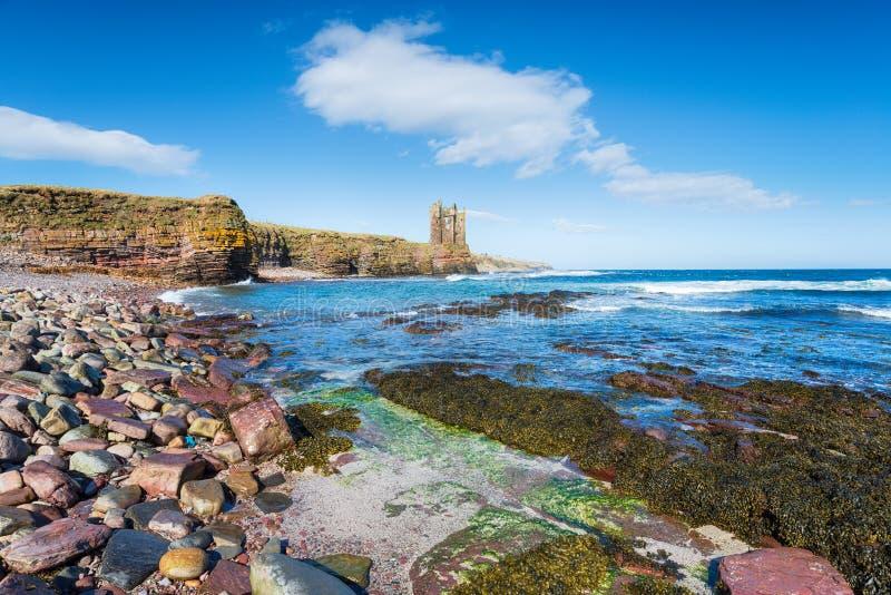 Keiss slott i Skottland royaltyfria bilder