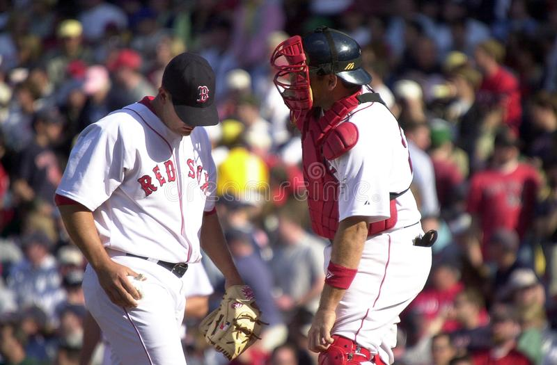 Keith Foulke and Doug Mirabelli. Boston Red Sox battery of closer Keith Foulke and catcher Doug Mirabelli. Image taken from a color slide stock photography