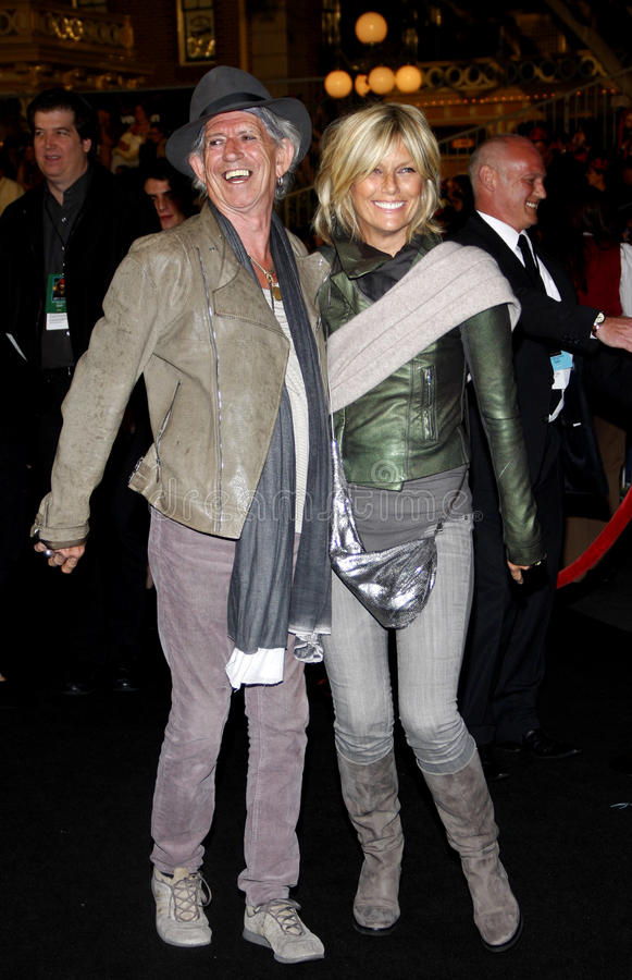 Keith Richards en Patti Hansen stock afbeeldingen