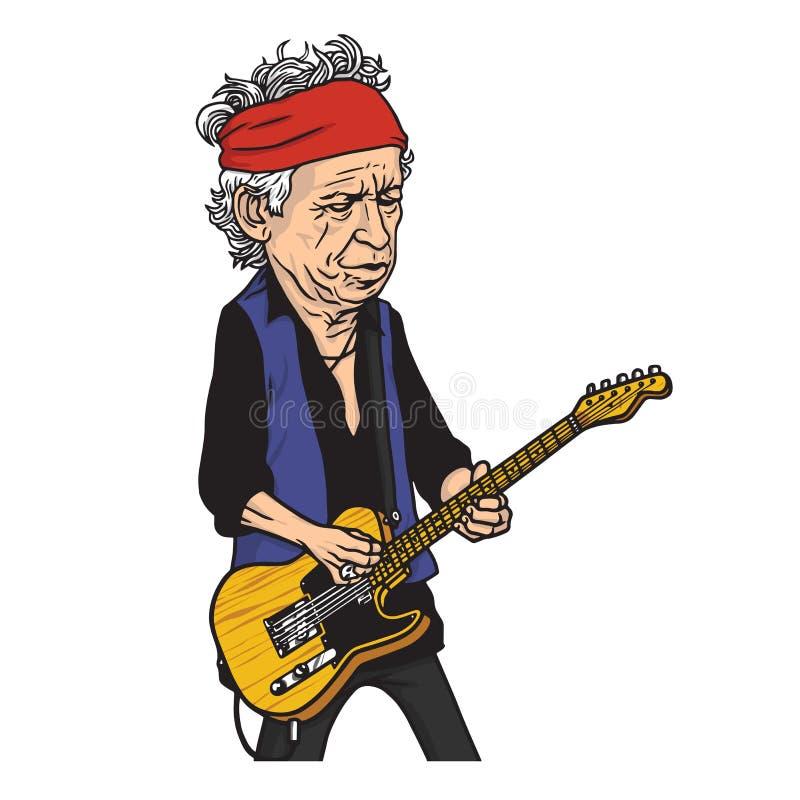 Keith Richards van The Rolling Stones-het Portret van de Beeldverhaalkarikatuur stock illustratie