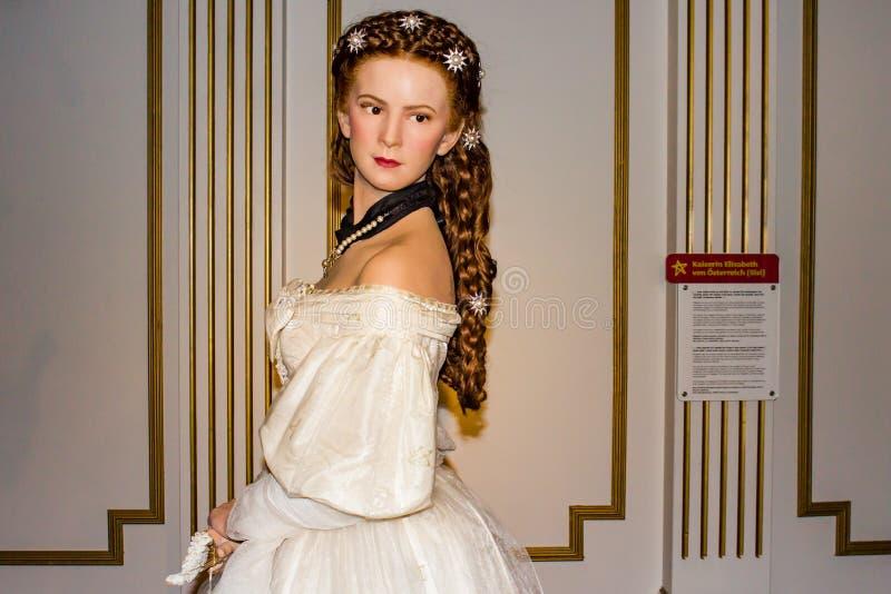 Keizerin Elisabeth van de wascijfer van Oostenrijk, Mevrouwtussaud's Museum Wenen stock afbeeldingen