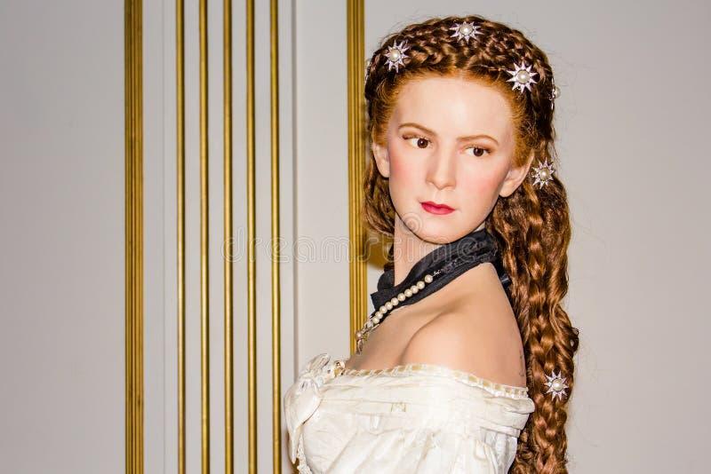 Keizerin Elisabeth van de wasportret van Oostenrijk, Mevrouwtussaud's Museum Wenen stock foto