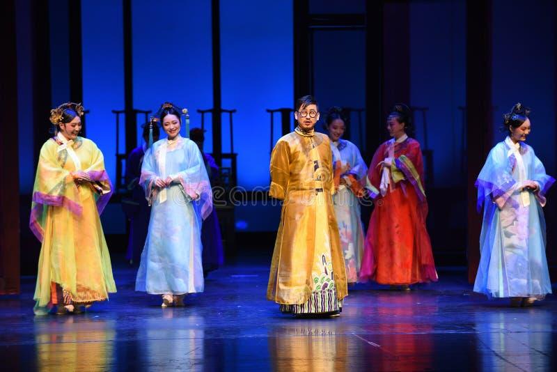 Kejsaren och hans concubines-öppning de första handling-moderna dramakejsarinnorna i slotten royaltyfria bilder