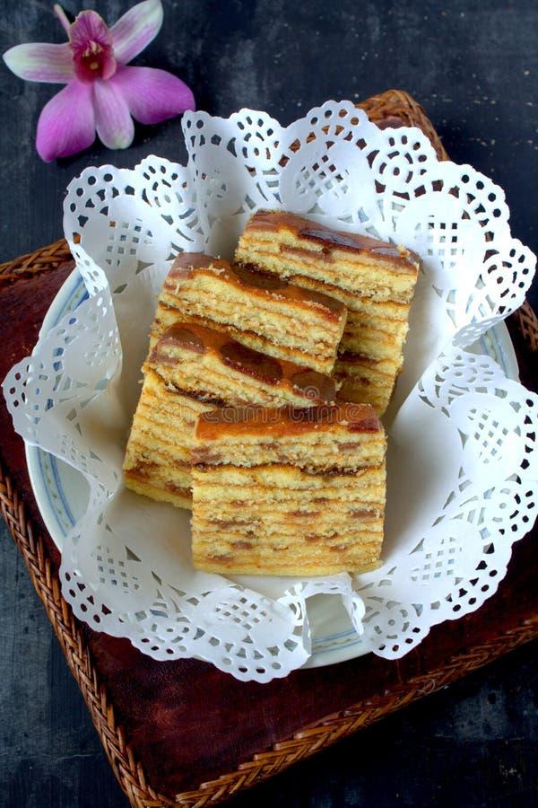 Kek Lapis- Ablegrujący tort obraz stock