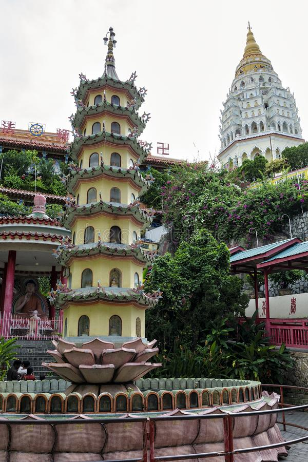 Kek Lok Si寺庙佛教中国建筑学,位于在空气Itam在槟榔岛,马来西亚 库存图片