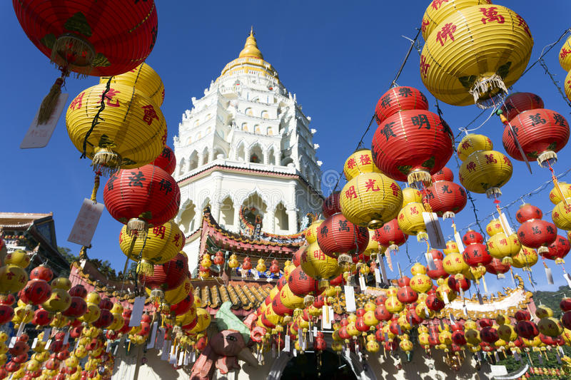 Kek Lok Si Chinese Buddhist Temple Penang Malaysia. Kek Lok Si buddhist temple and pagoda with Chinese New Year decorations for the celebration of the lunar new royalty free stock images