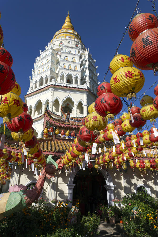 Kek Lok Si Chinese Buddhist Temple Penang Malaysia. Kek Lok Si buddhist temple and pagoda with Chinese New Year decorations for the celebration of the lunar new royalty free stock photos