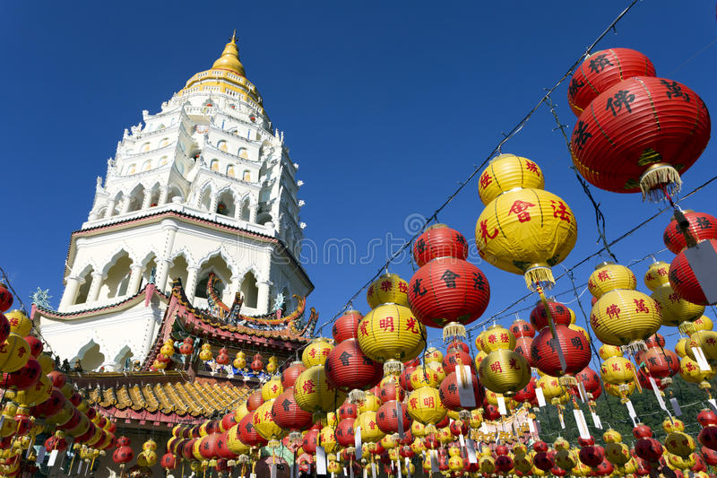 Kek Lok Si Chinese Buddhist Temple Penang Malaysia. Kek Lok Si buddhist temple and pagoda with Chinese New Year decorations for the celebration of the lunar new stock photos
