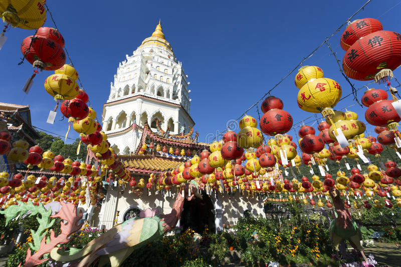 Kek Lok Si Chinese Buddhist Temple Penang Malaysia. Kek Lok Si buddhist temple and pagoda with Chinese New Year decorations for the celebration of the lunar new royalty free stock photography