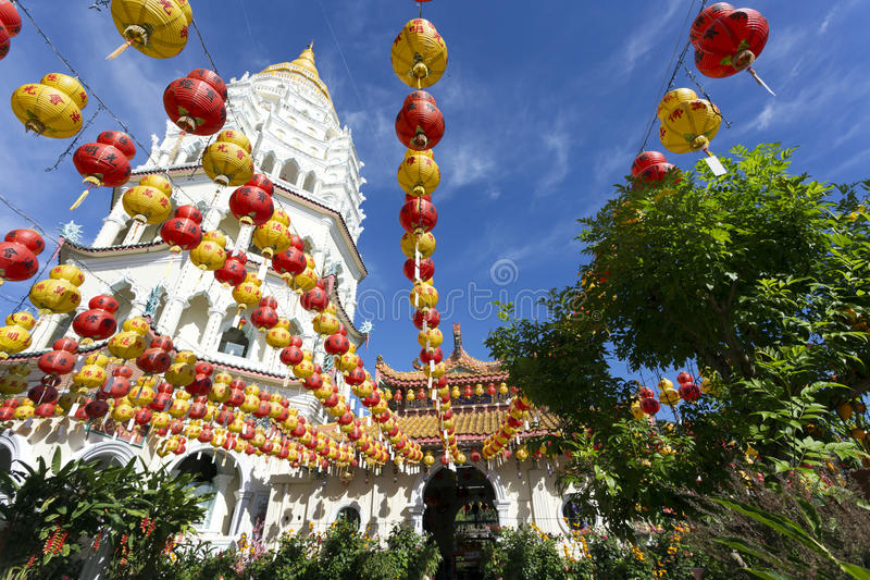 Kek Lok Si Chinese Buddhist Temple Penang Malaysia. Kek Lok Si buddhist temple and pagoda with Chinese New Year decorations for the celebration of the lunar new royalty free stock image