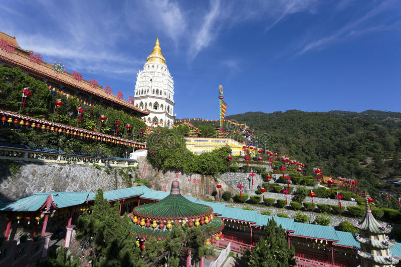 Kek Lok Si Chinese Buddhist Temple Penang Malaysia. Kek Lok Si buddhist temple and pagoda with Chinese New Year decorations for the celebration of the lunar new stock photography