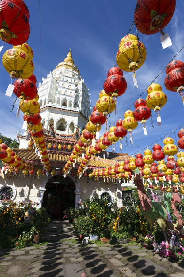 Kek Lok Si Chinese Buddhist Temple Penang Malaysia. Kek Lok Si buddhist temple and pagoda with Chinese New Year decorations for the celebration of the lunar new stock photo