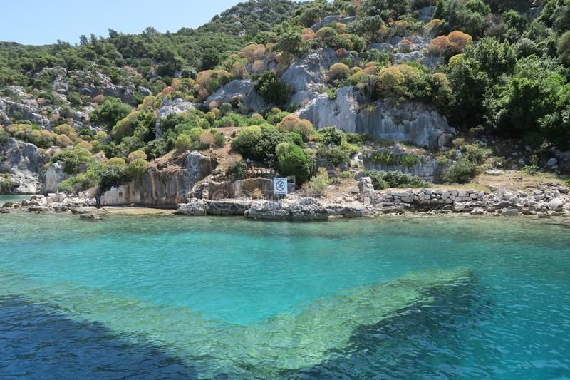 Kekova海岛和凹下去的城市Simena的废墟在安塔利亚省,土耳其 库存图片