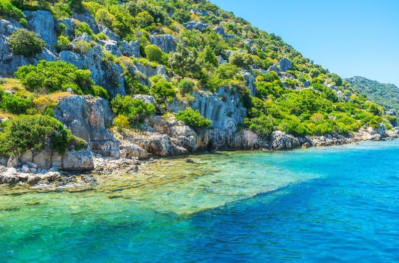 Kekova海岛,土耳其岸  免版税库存照片
