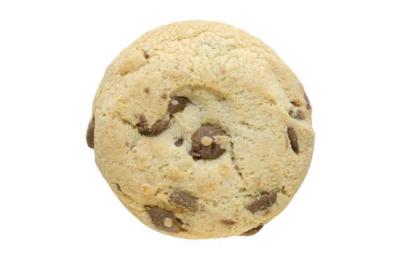 Keks mit dunklen Schokoladenchips auf weißem Hintergrund Einzelobjekte für Werbung, Verpackung oder anderes Design lizenzfreie stockfotos
