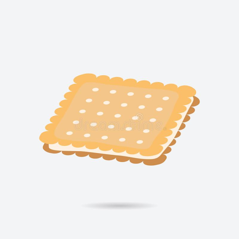Keks mit Sahne, Plätzchenfarbvektorikone Element der K?che f?r bewegliche Appsillustration Flache Ikone des Kekses für Website lizenzfreies stockfoto