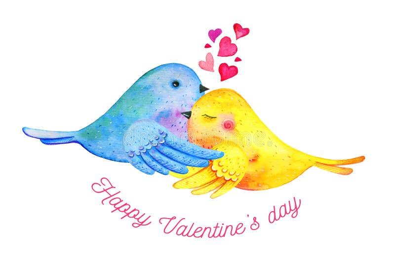 Kel för förälskelsefågelpar med hjärtor och att önska Utdragen vattenfärgillustration för hand för St-valentin dag vektor illustrationer