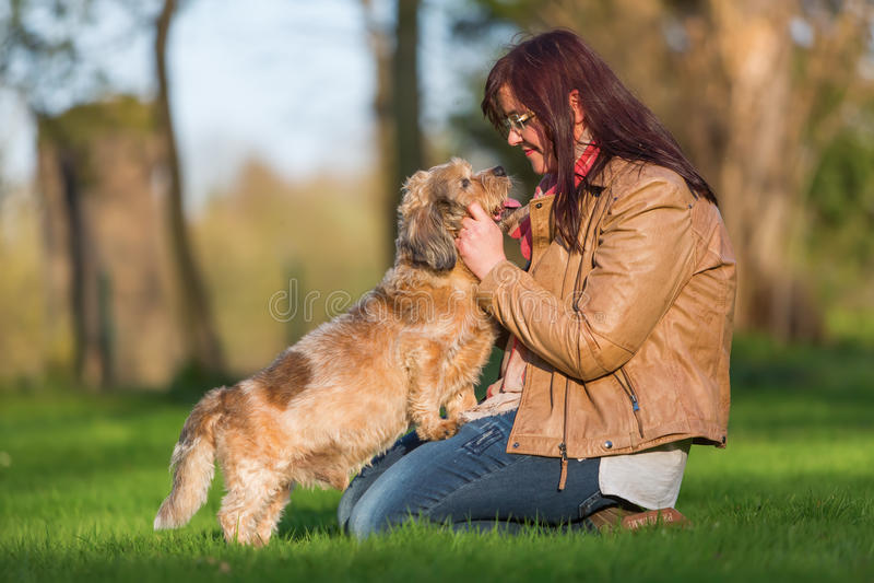 Kel för ung kvinna med en gullig hund arkivfoton