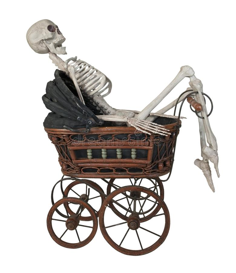 Keleton in a Vintage Bassinet. Skeleton in a Vintage bassinet with folding cover and handle - path included stock image