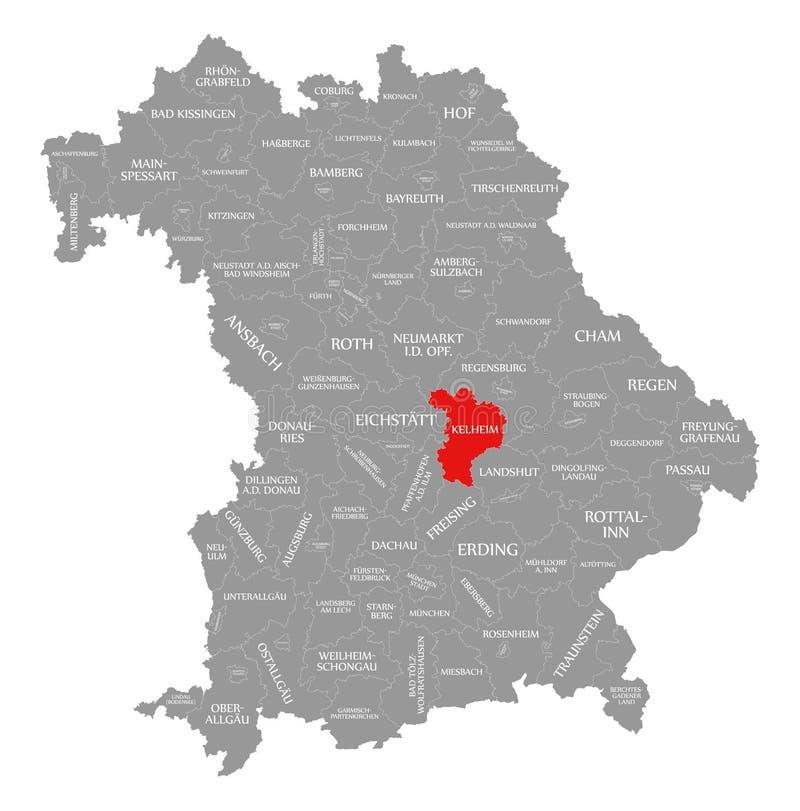 Kelheim okręgu administracyjnego czerwień podkreślająca w mapie Bavaria Niemcy royalty ilustracja