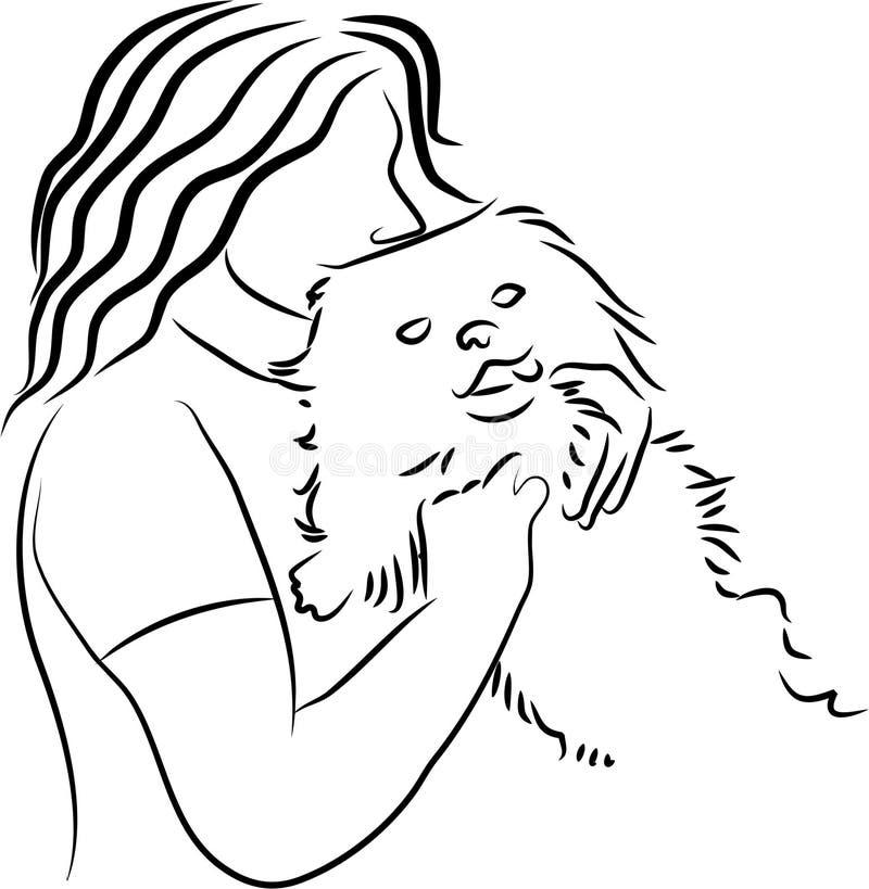 kelig hund royaltyfri illustrationer
