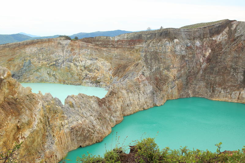 Kelimutu Crater Lakes. Located around 50 km to the east of Ende regency, East Nusa Tenggara, Flores Island, Indonesia. The bluest lake is Tiwu Ata Polo or royalty free stock photography