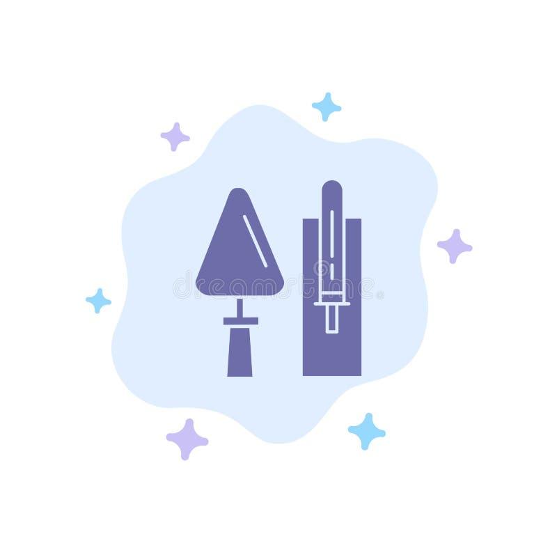 Kelle, Maurerarbeit, Bau, Maurerarbeit, Werkzeug-blaue Ikone auf abstraktem Wolken-Hintergrund lizenzfreie abbildung