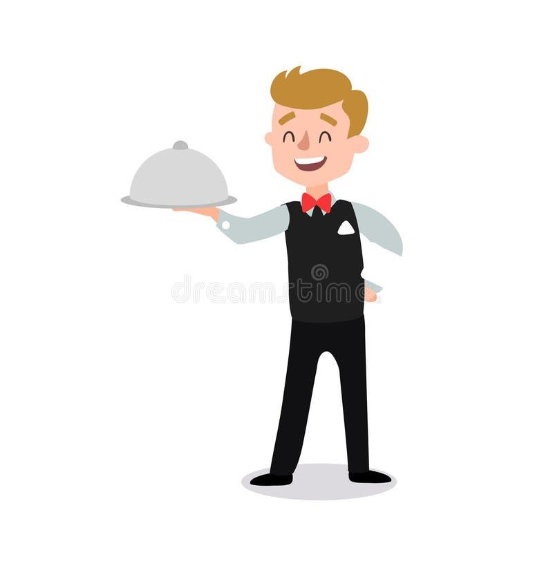 Kellner, der die Uniform hält einen Teller der Hühnerzeichentrickfilm-figur trägt Satz der flachen Karikaturperson des Spaßes ein stock abbildung