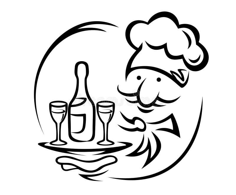 Kellner mit Champagner lizenzfreie abbildung