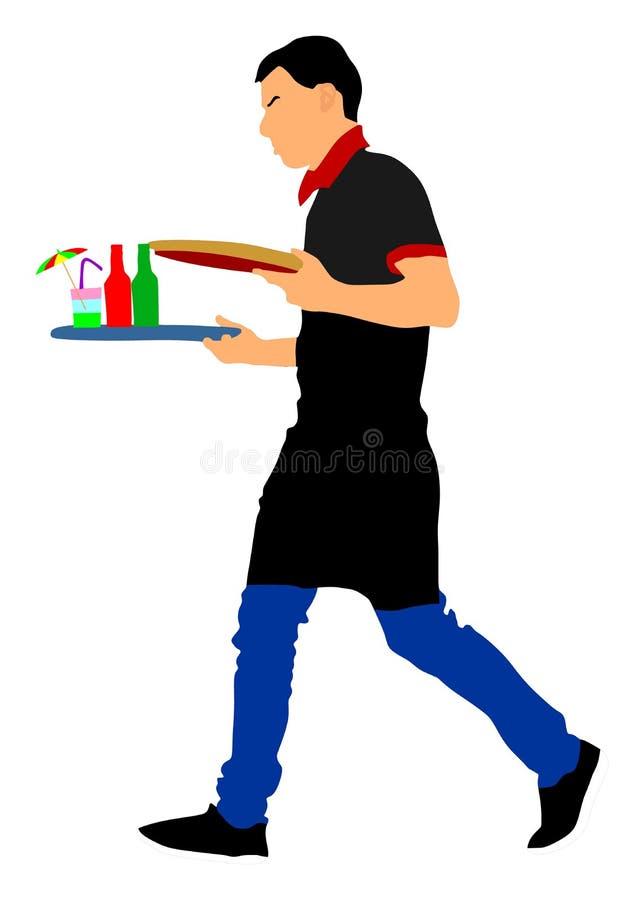 Kellner, Kellner mit den leeren und vollen Behältern, Vektor Bediensteter im Restaurant, das Bestellungen entgegennimmt lizenzfreie abbildung