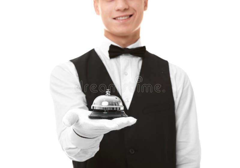 Kellner mit Service-Glocke lizenzfreies stockbild