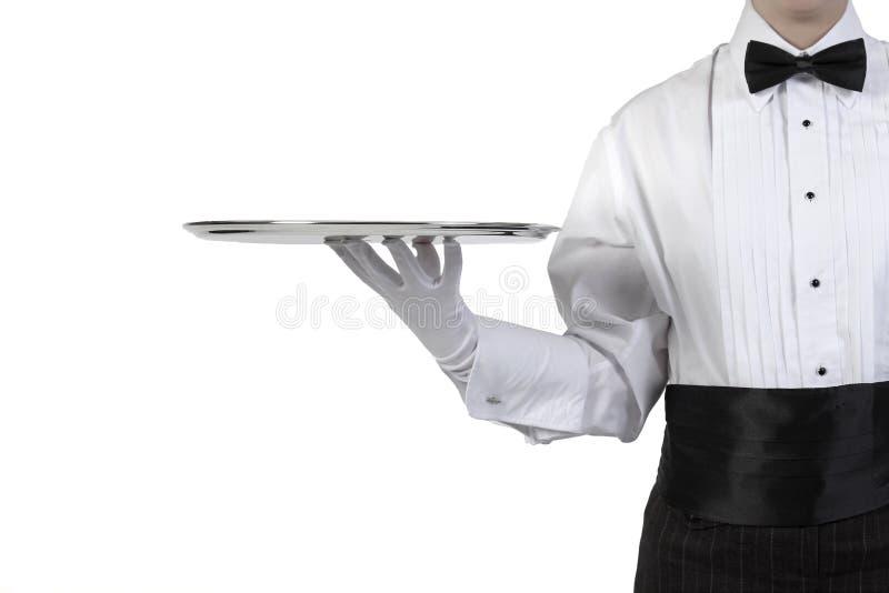 Kellner mit silbernem Tellersegment stockfotos