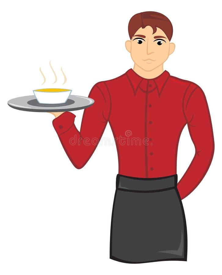 Kellner mit Suppe lizenzfreie abbildung