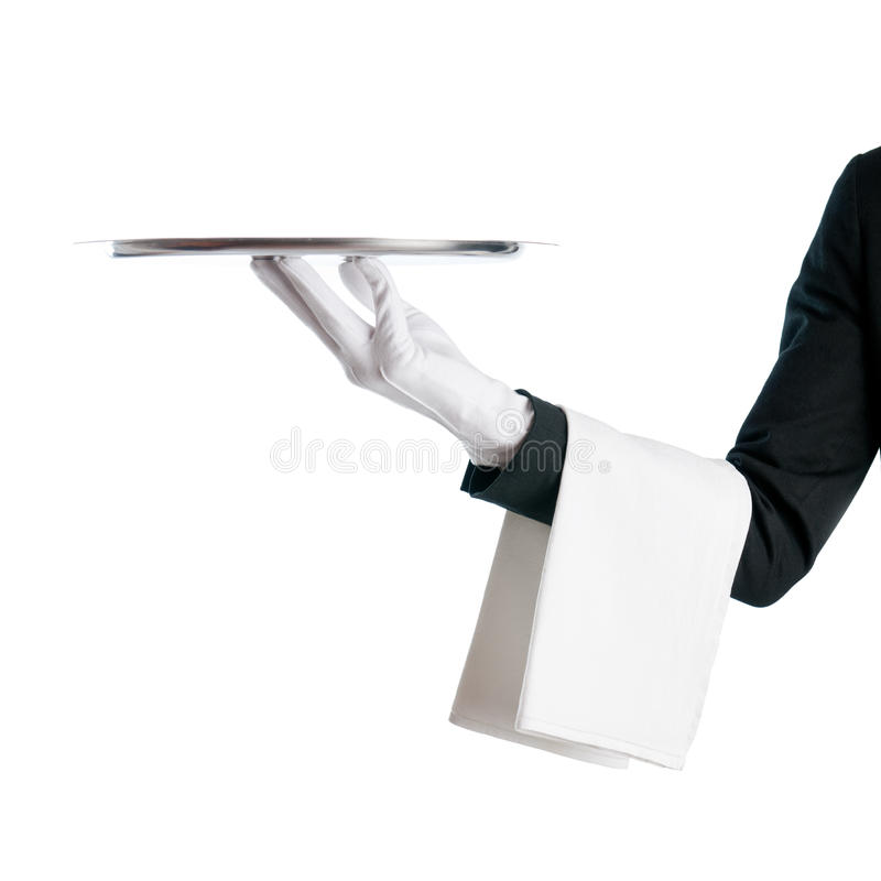 Kellner mit Tellersegment lizenzfreies stockbild