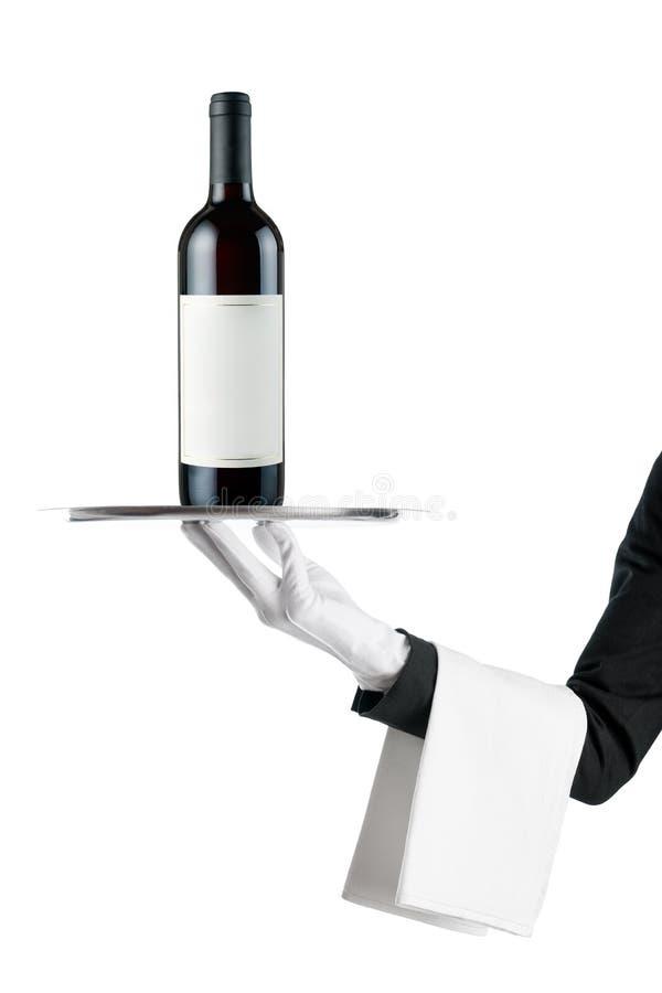 Kellner mit Weinflasche stockfoto