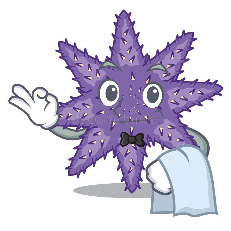 Kellner purpurrote Starfish in der Zeichenform vektor abbildung
