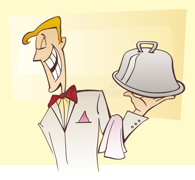 Kellner und Teller vektor abbildung