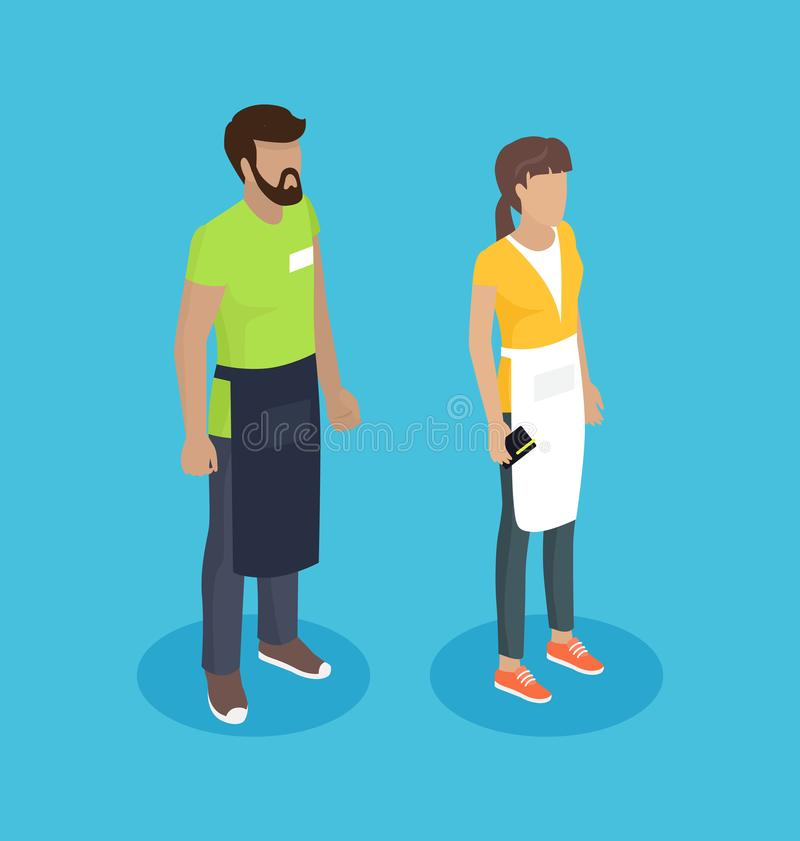 Kellnerin und Kellner People Vector Illustration vektor abbildung