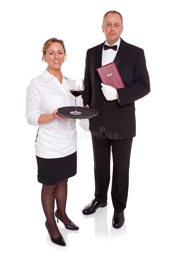 Kellnerin und Maitre D lizenzfreies stockbild