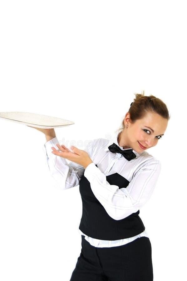 Kellnerinholdingtellersegment stockfotos