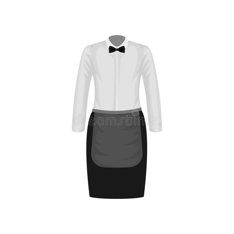 Kellnerinuniform Weißes Hemd mit Fliege und schwarzem Rock mit Schutzblech Kleidung der Restaurantarbeitskraft Flaches Vektordesi lizenzfreie abbildung