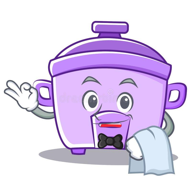 Kellnerreiskocher-Charakterkarikatur stock abbildung