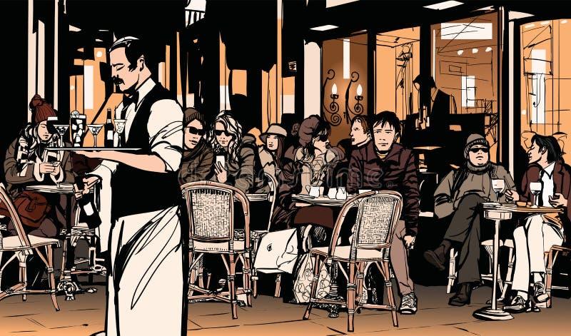 Kellnerumhüllungskunden am traditionellen Pariser Café im Freien lizenzfreie abbildung