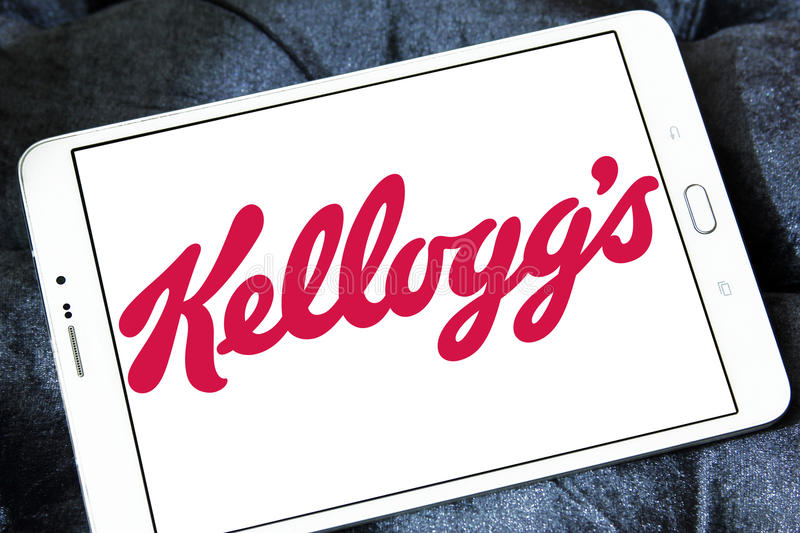 Kellogg`s food company logo. Logo of Kellogg`s foods on samsung tablet stock image