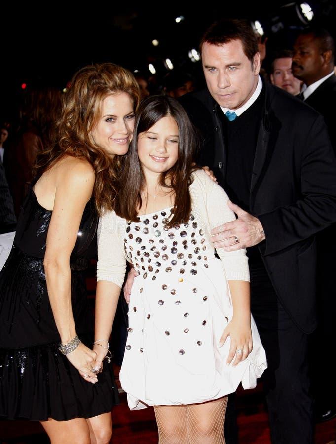 Kelly Preston, John Travolta i Ella Bleu Travolta obrazy stock
