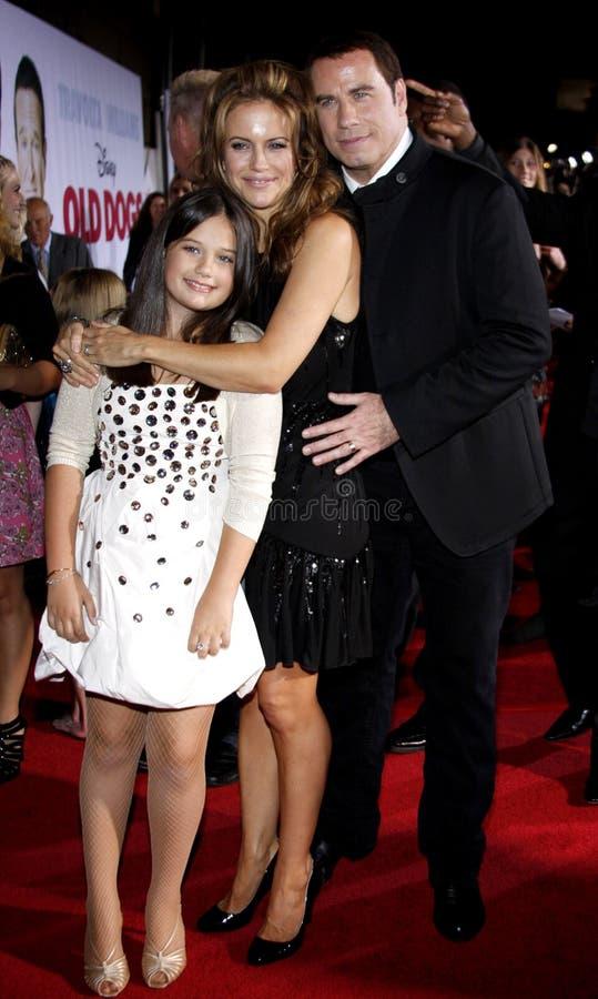 Kelly Preston, John Travolta i Ella Bleu Travolta obraz stock