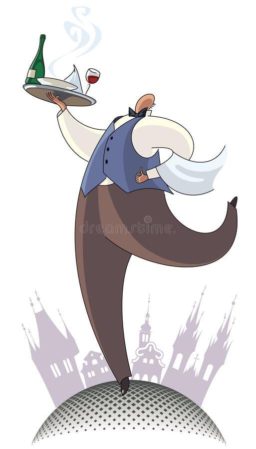 kelner royalty ilustracja